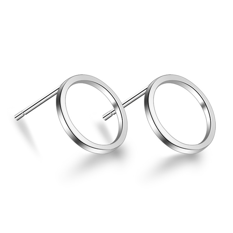 925 Sterling Silver Simple Fashion Round Stud Earrings For Women Gift Sterling-silver-jewelry Brincos Boucle D'oreille VES6225