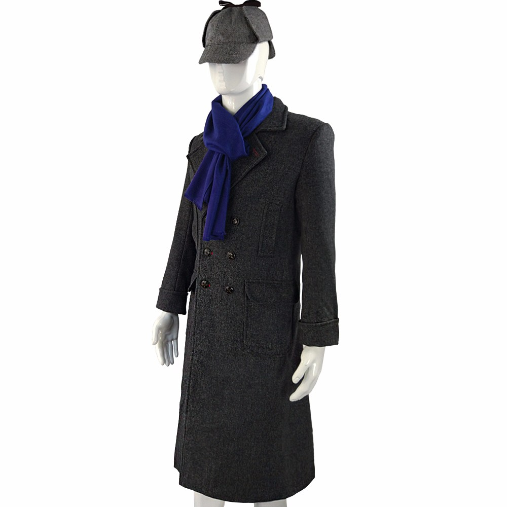 Sherlock Holmes Cape Coat Costume Cosplay Jacket Wool Christmas Gift With Scarf4