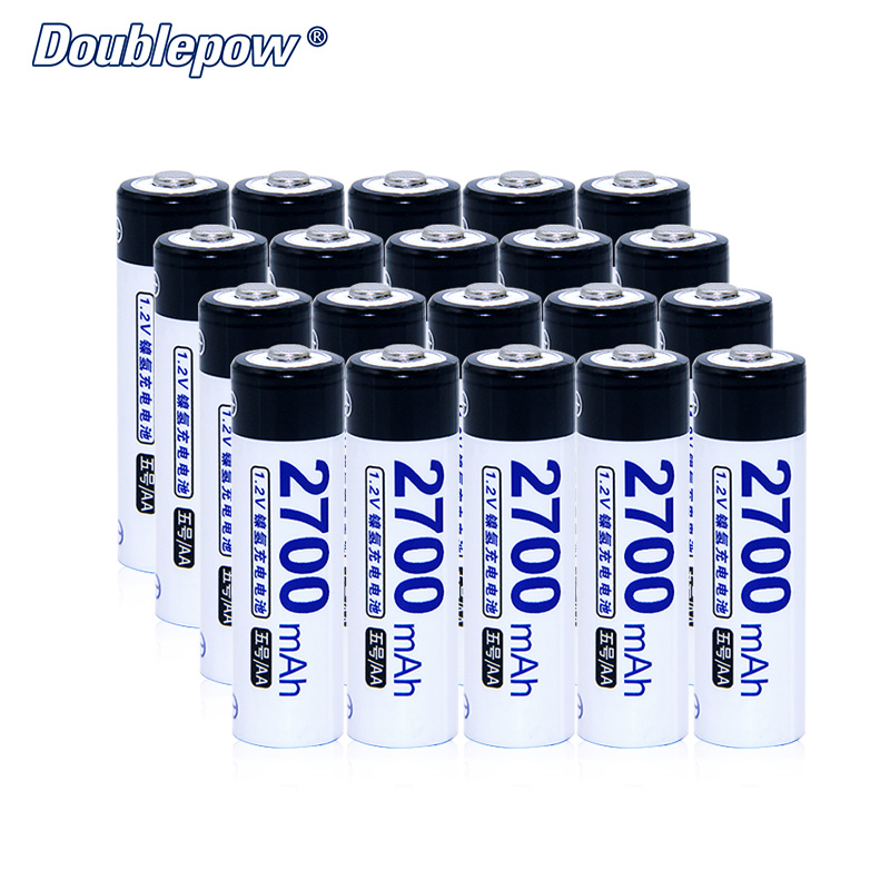 20pcs/Lot Doublepow DP-AA2700mA 1.2V Ni-MH Rechargeable Battery Actual High Capacity Battery Cell of 2700mA FREE SHIPPING