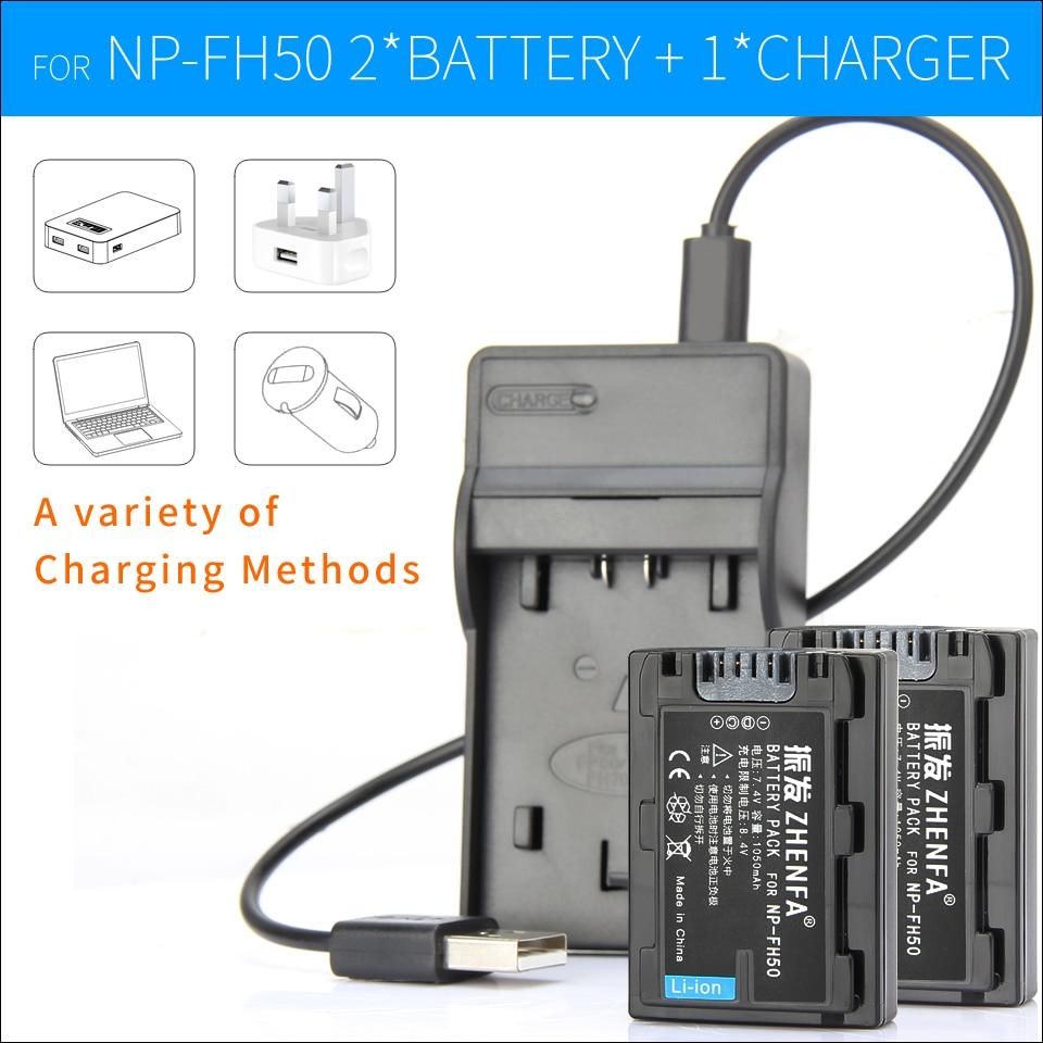 2 pcs np-fh50 np fh50 caméra batterie + chargeur pour sony dslr-a230 a290 a330 a380 a390 hdr-tg1e tg5e tg7e dsc-hx1 hx100v dsc-hx200v