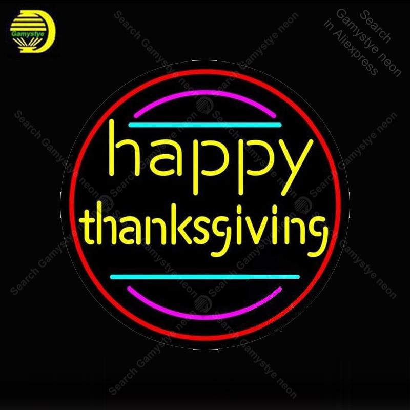 Enseigne au néon personnalisée joyeux Thanksgiving lumière Tube de verre néon ampoules Bar à bière chambre affichage accessoires néon lumière décor chambre conseil