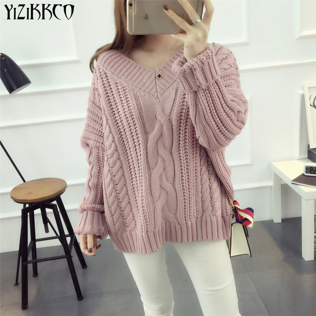 YiZiKKCO Brand Sweater Pullovers Sweaters Women's Clothing 2016 New Autumn Winter V-Neck Knitted Pull Femme Sweter Mujer WHD451