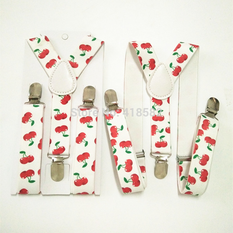 BD015-S Red Cherry Print Suspender For Baby Elastic Adjustable 3 Clips-on Suspender For Boys And Girls Free Shipping