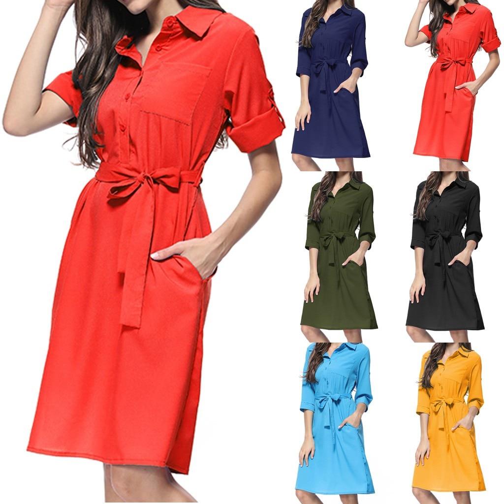 Summer Fashion High Quality Casual Women Fashion Sexy Solid Color Print Slim Shirt Cropped Sleeve Dress