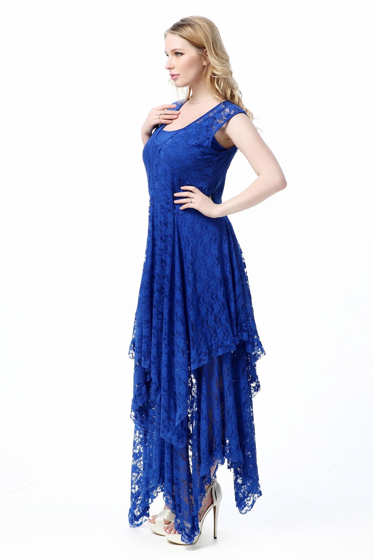 Sexy longue dentelle robe femmes robes 2019 été deux pièces ensemble grande taille 6XL 5XL 4XL bleu noir robe de soirée femme CM126 - 4