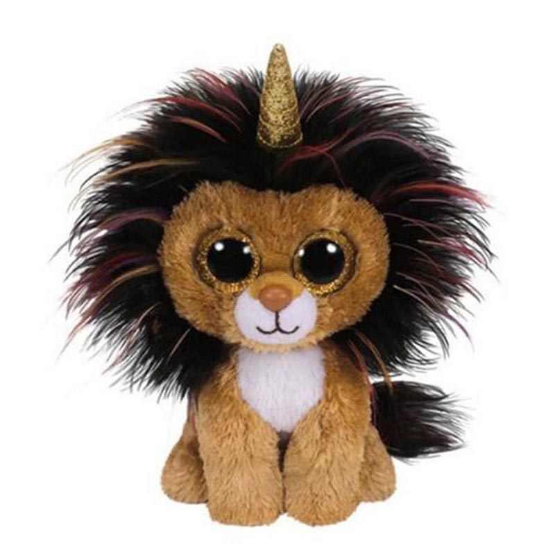 Ty gorro recheado & animais de pelúcia ramsey o leão com chifre brinquedo 15cm