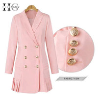 HEE GRAND Office Lady Women Coats Formal Blazers Turn Down Collar Women Trench Coats Long Sleeve Double Breasted Outwear WWX465
