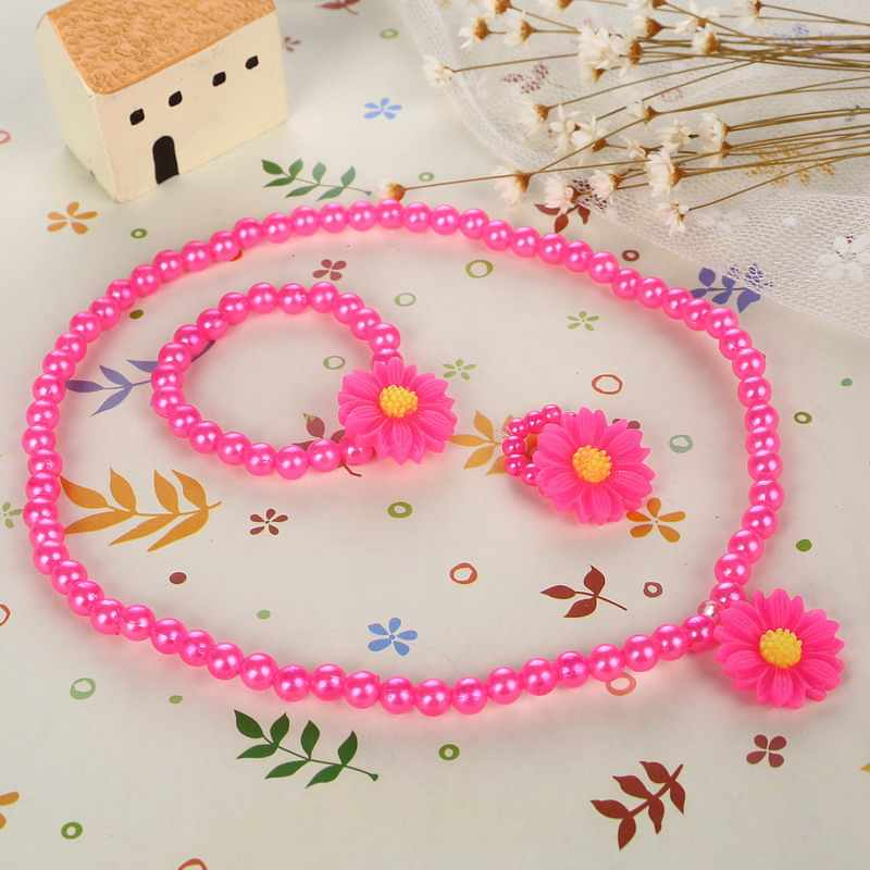 Colorful Imitation Pearl Beads Necklace Resin Flower Pendant Chokers Necklace Bracelet Ring Jewelry Sets For Kid Free Shipping