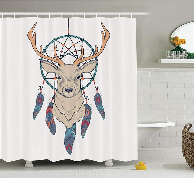 Deer Shower Curtain Roe With Native American Tribal Dreamcatcher Ethnic Folk Art Style Sketch Fabric Bathroom Decor