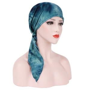 Image 5 - Мусульманская женская мягкая шапка тюрбан, предварительно связанный шарф, хлопковая шапочка при химиотерапии, шапка, бандана, головной платок, повязка на голову, аксессуары для волос с раком
