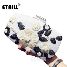 ETAILL 2018 New Womens Fashion Embroidered Evening Clutch Bag Formal Event Party Wedding Day Clutches with Flowers