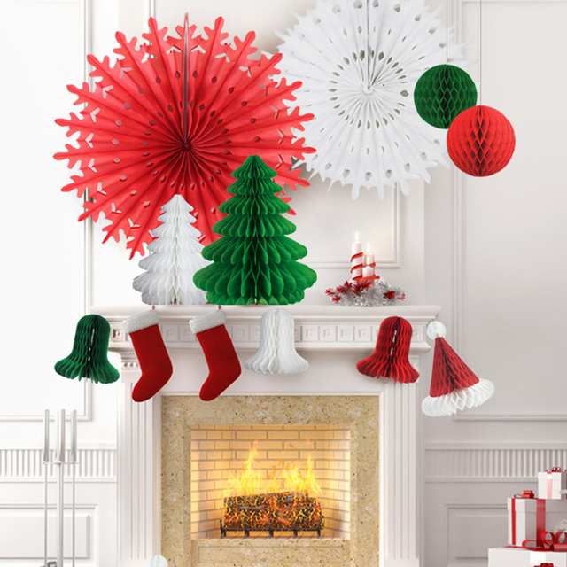 set of 12 christmas honeycomb paper decorations honeycomb bell tree