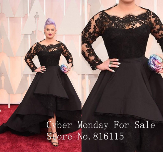 Free Shipping Osbourne 2017 Oscars Evening Dresses Bateau Long Sleeve Lace Hi Lo Celebrity Dresses Custom Made