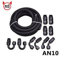 邪悪なエネルギー AN10 石油燃料継手ブラックホースエンド 0 + 45 + 90 + 180 度オイルアダプタキット AN10 編組黒石油燃料ホースライン 5 メートル|hose end|fuel fittingoil kit -