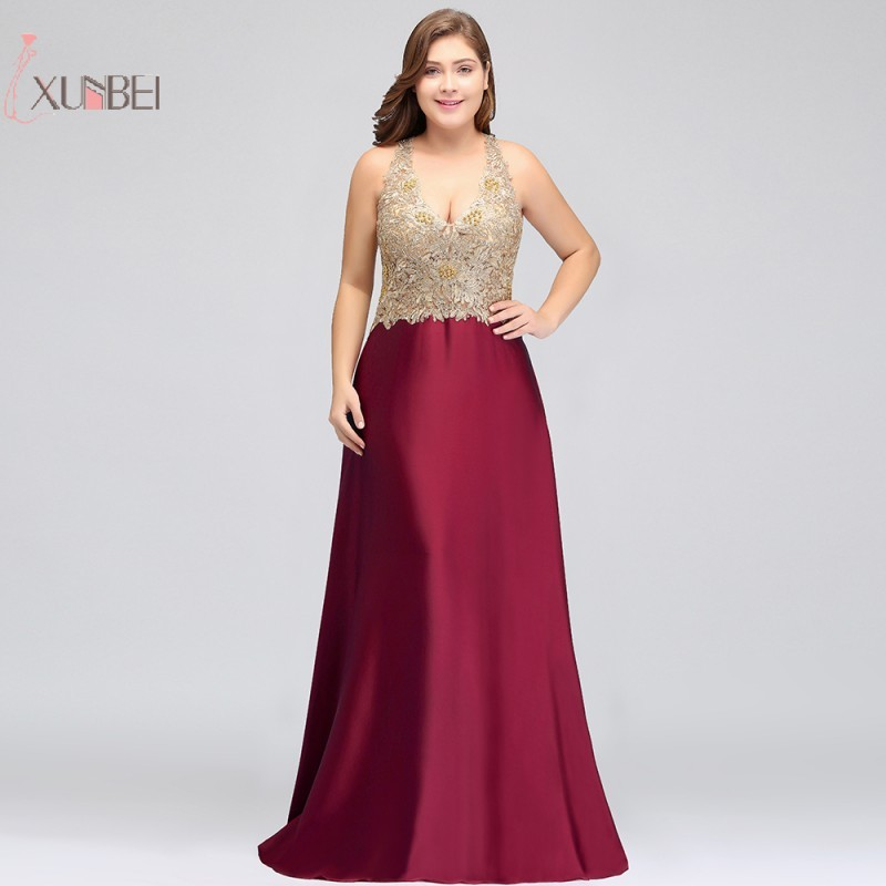 2019 Luxury Plus Size Burgundy Satin Long   Prom     Dresses   Gold Applique Beading   Prom   Gown Gala   Dress
