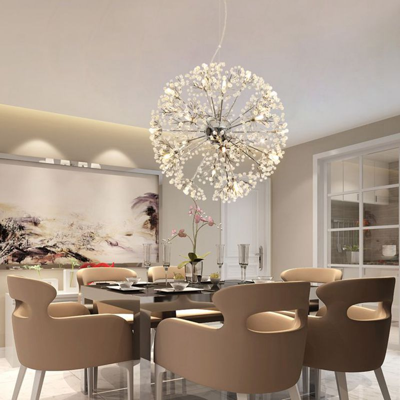 Modern LED Crystal Pendant Lamp Dandelion Chandelier Light Fixture For Dining Room Bedroom Lustres de Cristal AC220V 110V modern led crystal pendant lamp dandelion chandelier light fixture for dining room bedroom lustres de cristal ac110v 240v