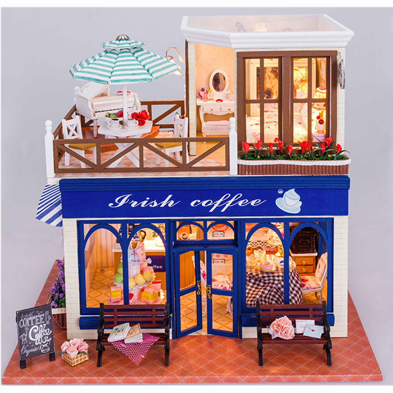 Assemble DIY Doll House Toy Wooden Miniatura Doll Houses Miniature Dollhouse toys With Furniture LED Lights Birthday Gift D012 home decoration crafts diy doll house wooden doll houses miniature diy dollhouse furniture kit room led lights gift a 012