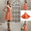 Free shipping sexy orange strapless sweethear mini short chiffon cocktail dress JW063