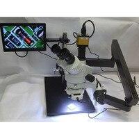 3.5X 90X Trinocular Articulating Arm Pillar Clamp Big Base Zoom Stereo Microscope+HDMI Microscope Camera+10 inch Monitor+144 LED