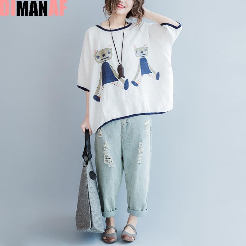 큰 사이즈 여름 스타일 T - 셔츠 여성 패턴 고양이 인쇄 린넨 귀여운 T - 셔츠 여성 버튼 대형 루즈 패션 블랙 탑스 & 티즈