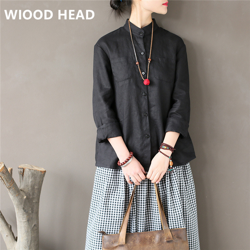 WIOOD HEAD Women Stand Shirt Linen Blouses 2018 Spring New Long Sleeve Vintage Casual Tops White Black Women Clothe Brief Shirts