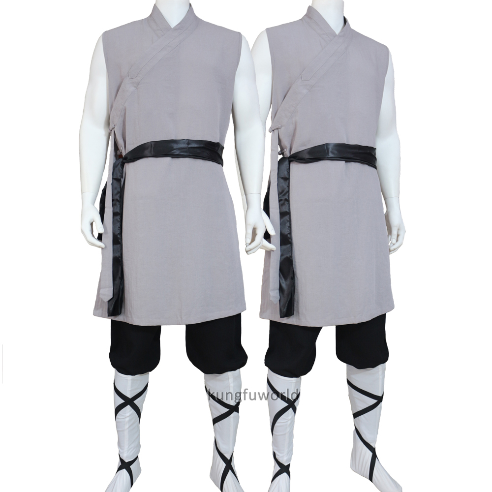 Summer Sleeveless Shaolin Kung Fu Suit Wushu Martial Arts Tai Chi Uniforms Monk Robe Meditation Training Clothes 25 Colors