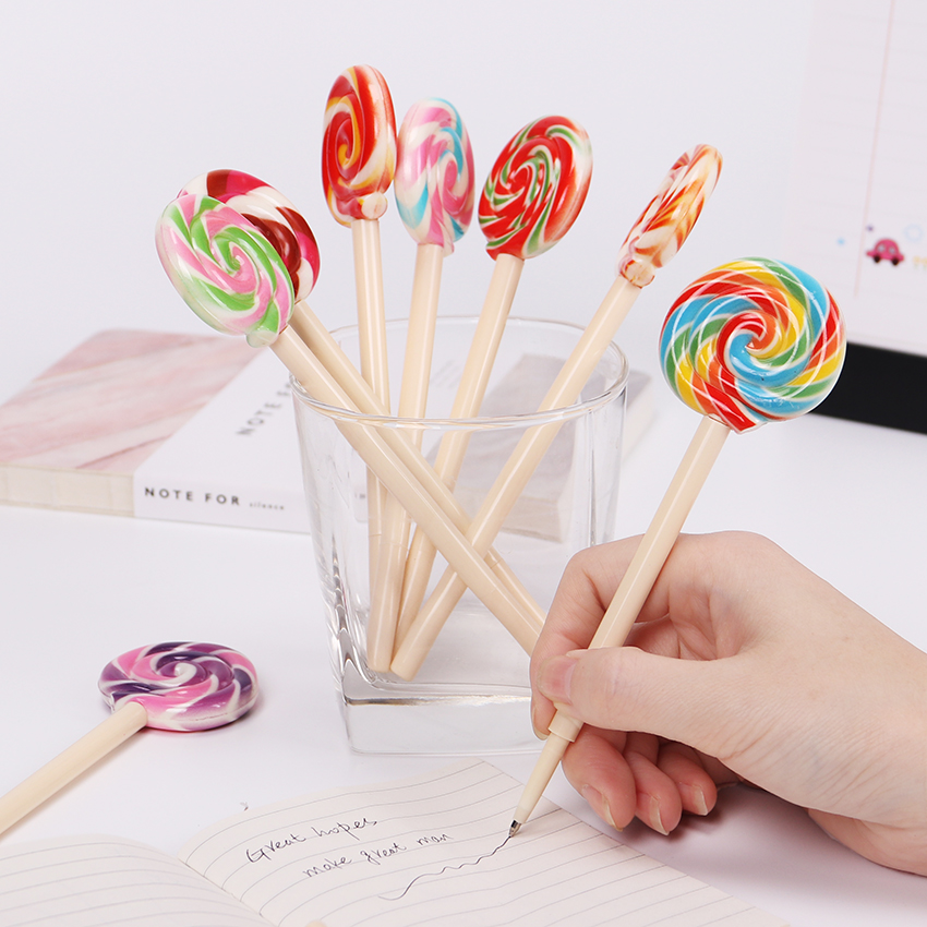 1PC Cute Candy Style Lollipop Ballpoint Pen Kawaii Ballpoint Pens for School Stationery Office Stationery Supplies high quality classic style rollerball pen 0 5mm metal steel ballpoint pens school stationery supplies free shipping