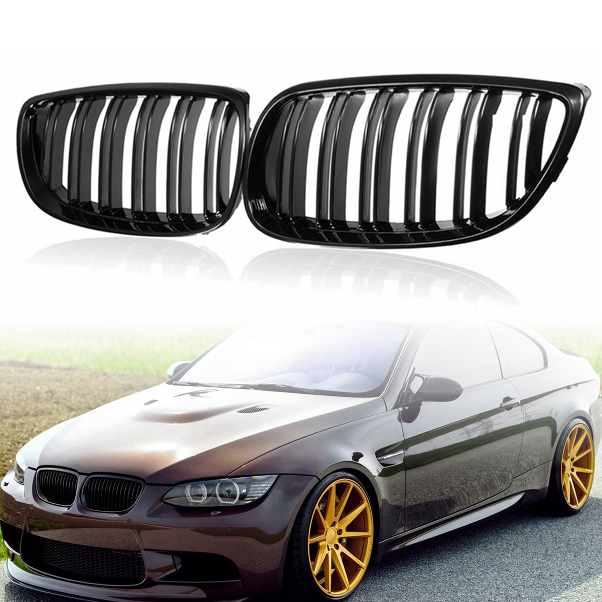 Pair Matte Black/Gloss black M Styling Double line Front Kidney Grille Grill For BMW 3-Series E92 E93 2007-2010 9 typesPair Matte Black/Gloss black M Styling Double line Front Kidney Grille Grill For BMW 3-Series E92 E93 2007-2010 9 types