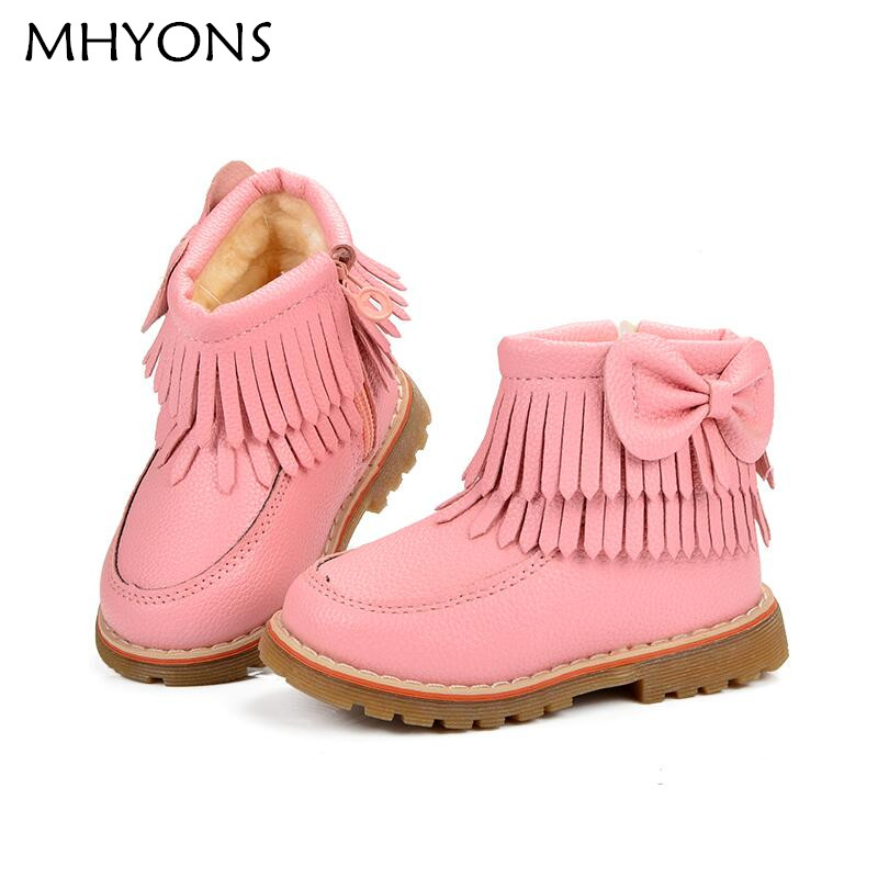 Girls Snow Boots Kids Shoes Plush Butterfly Knot Tassel Zipper Thick Bottom Shoes Waterproof Fringe Short Boot bota menina