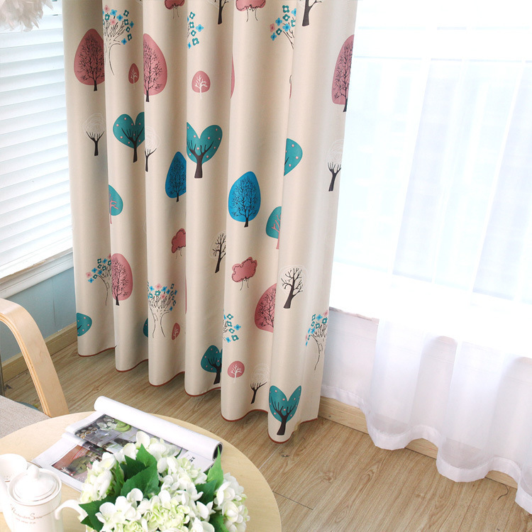 2017 new elegant kids room curtains blackout cartoon tree