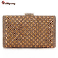 2016 New Women's Banquet Clutch Luxury Shiny Diamond Evening Bag Rhinestone Wedding Party Dinner Handbag Purse Shoulder Bag