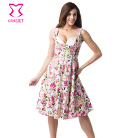 Fashion Cotton Pink Floral Print Autumn Dress Women Clothes Sleeveless Padded Cup Club Party Dresses 2016