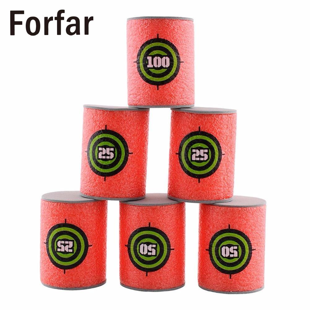 Forfar 6Pcs EVA Soft Bullet Target for Nerf N-strike Elite Blaster Kid Toy Target Outdoo ...