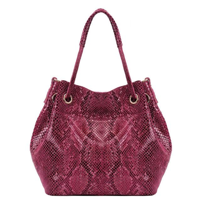 New Arrival Snakeskin Print Real Cow Leather Handbag Brand Tassel Bucket Women Bag Designer Top Tote Bags for Women Medium Size