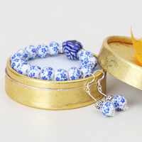 Ceramic Jewelry Set With 1 Bracelet And 1 Earring Blue Flower Blue And White Porcelain With