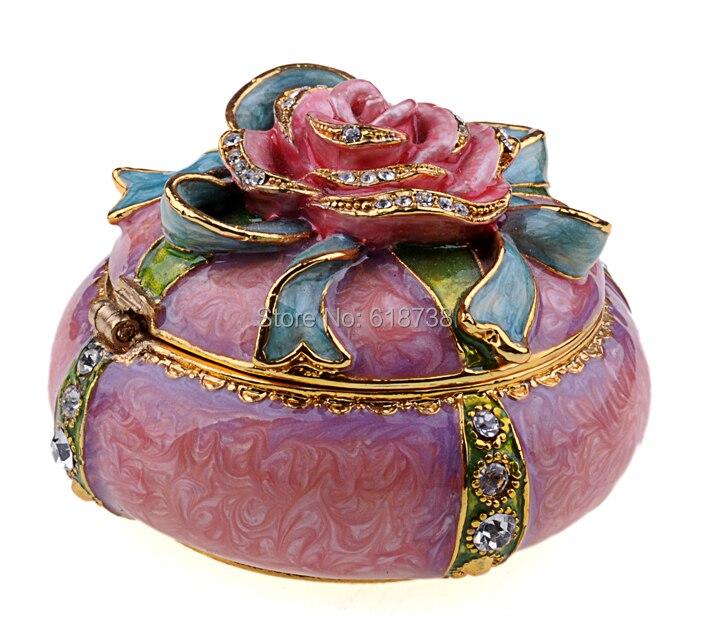 Rose metal decorative alloy trinket jeweled jewelry enamel metal
