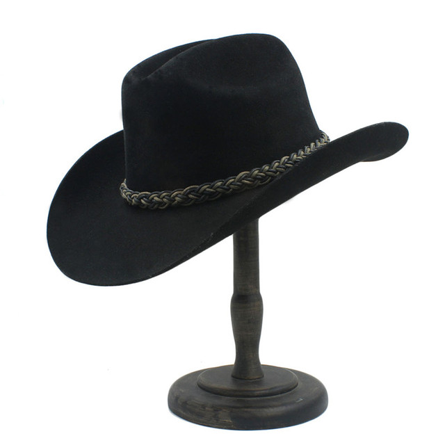 100% Australia Wool Women Men Black Western Cowboy Hat Cowgirl Jazz  Sombrero Cap 0f4e94eb104