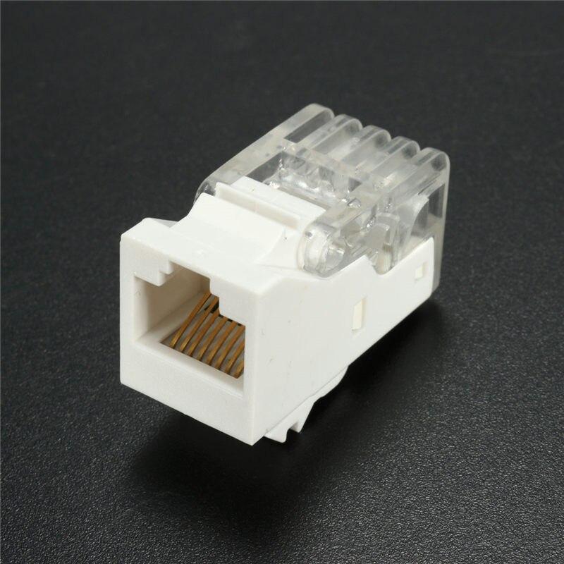 10Pcs/lot CAT5e White RJ45 8P8C Modular Module Toolless Ethernet Internet Network Jack Connectors Plugs