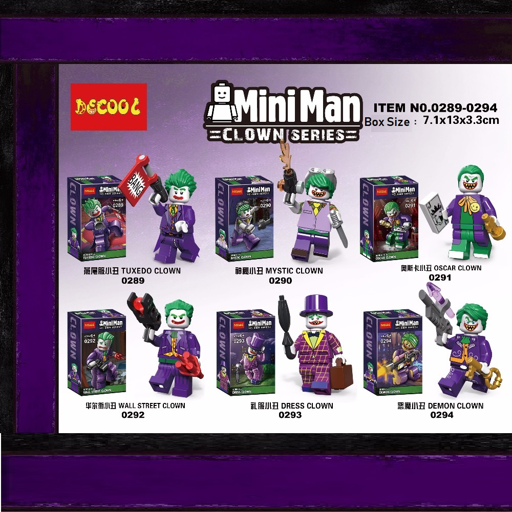Decool 6pcs/lot 0289-0294 super heroes Joker action Figure Clown Action Figures Building Toys gifts for Lego for minifigure LPS lps pet shop toys rare black little cat blue eyes animal models patrulla canina action figures kids toys gift cat free shipping