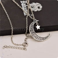10pcs a lot Antique Silver Plated Alloy Crescent Moon And Star Pendant Necklace For Girls And Women