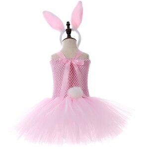 Image 4 - الوردي الأرنب الأرنب توتو فستان مع عقال الذيل بنات عيد ميلاد ملابس الاطفال عيد الفصح هالوين ازياء للبنات ملابس للحفلات