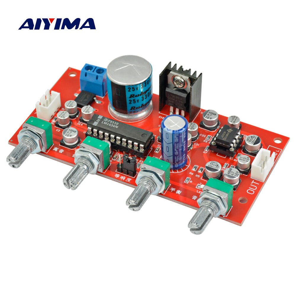 Aiyima LM1036 Tone Board Bass Treble Volume Control NE5532 OP-AMP HIFI Amplifier Preamplifier Board Single Power Supply new arrival ne5532 op amp hifi amplifier preamplifier volume tone eq control board diy kits free shipping