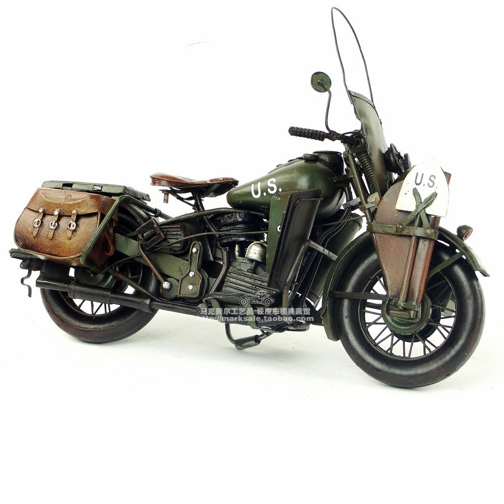 New 1:12 Vespa model motorcycle vintage 1942 US Army WAL metal motorcycle toy diecast vespa motorbike old collection kids toy