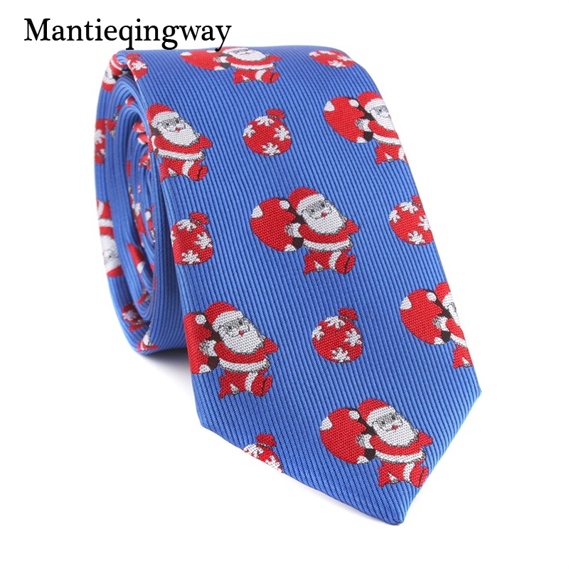Mantieqingway Christmas Neck Ties For Mens Polyester Jacquard Santa Claus Pattern Necktie Casual Business Male Neck Ties Gifts