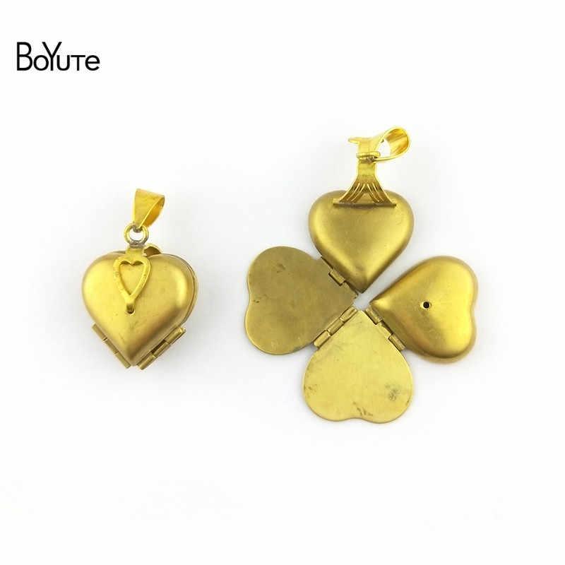 BoYuTe цельный 22*21*12 мм необработанный медальон из латуни с памятью сердце фото медальон Клевер медальон винтажный ювелирный кулон