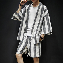 50fabc63c307e Erkekler Hırka Ceket Setleri (ceket + şort) çin Tarzı Yaz Moda Rahat Erkek  Pamuk Keten Gevşek Kimono Gömlek Ceket