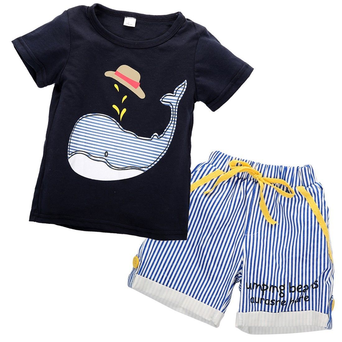 Child Kid Boy Clothing Animal Anchor Short Sleeve Tops T-shirt Striped Shorts Casual Outfits Children Baby Kids Boys Clothes