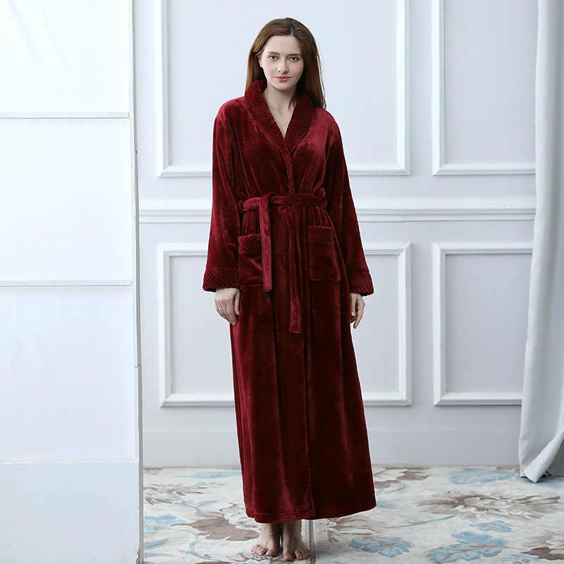 ... Extreme Long Women Bathrobe Warm Winter Nightgown Towel Flannel  Sleepwear Kimono Peignoir Bridesmaid Bath Robe Dressing ... 49bb40d8b