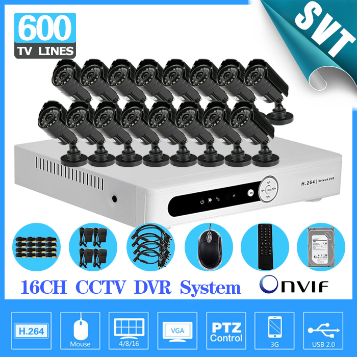 Home Security 16CH Surveillance Network DVR recorder 16 channel Day Night Waterproof Camera Kit CCTV Video System with 1TB HDD  16ch video camera recorder dvr with 16pcs outdoor waterproof ir day night vision surveillance camera 16ch security sytem dvr kit