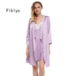 Image 1 - Fiklyc merk volledige mouw sexy vrouwen robe & gown sets kant bloemen satijn vrouwen pyjama sets nachthemd + badjas homewear hot